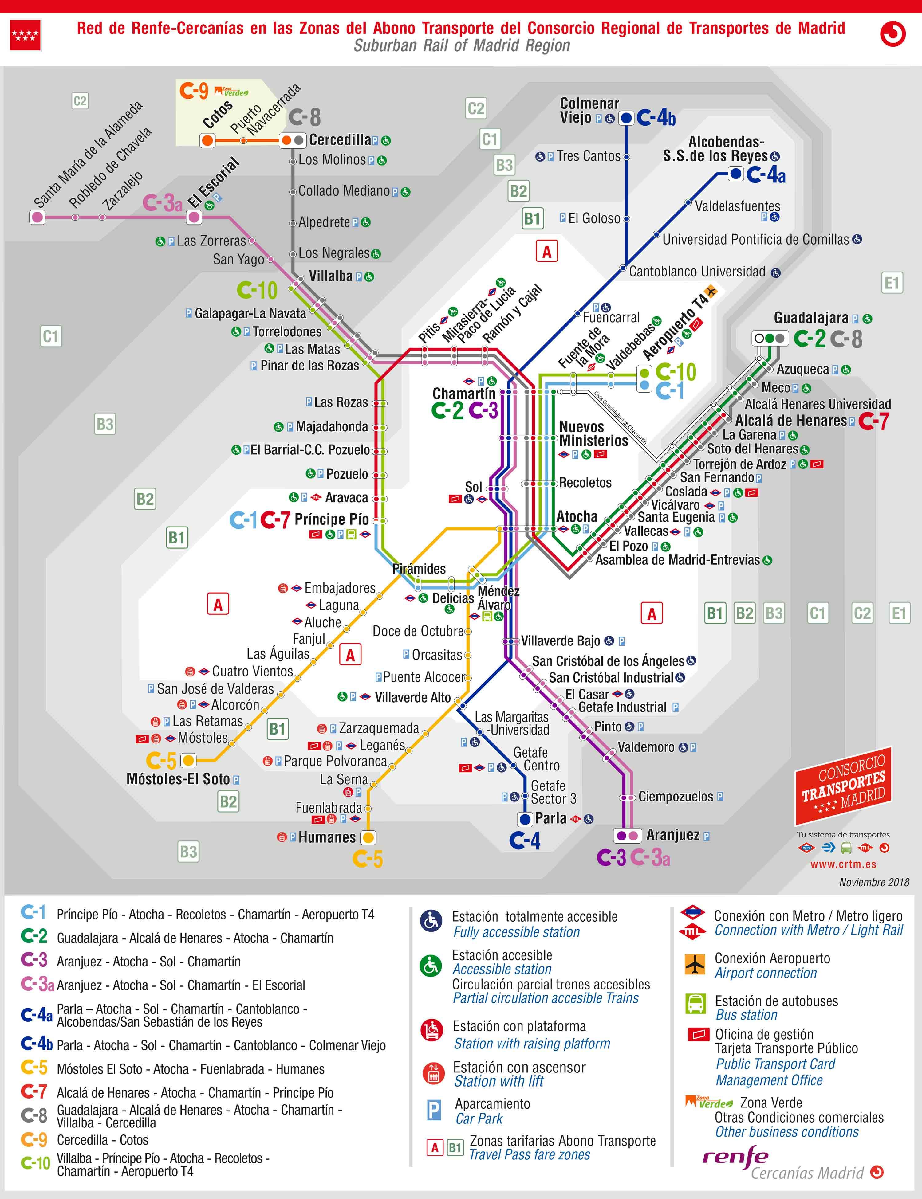 Mapa Metro Y Cercanias Madrid 2019.Planos Y Mapas De Metro Cercanias Y Otros Transportes De